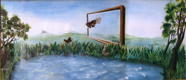 surreale landschaft malerei format A1