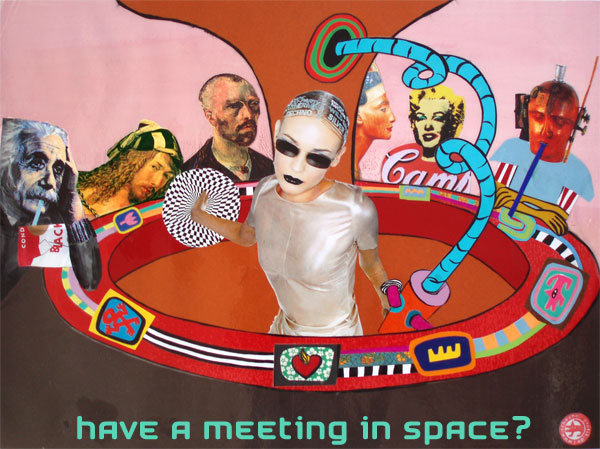 'spaceroom with famous people' collage für arte tv