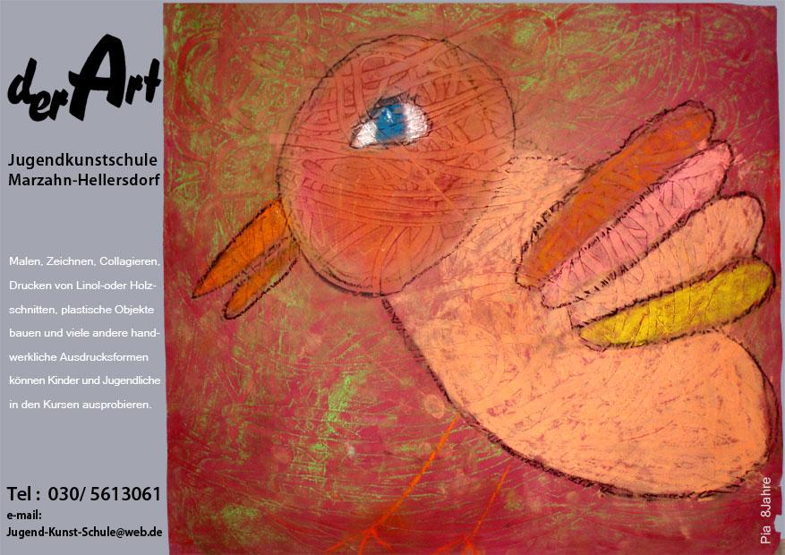 werbeplakat jugendkunstschule 'der art'